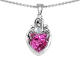 Original Star K™ Loving Mother Twin Children Pendant With 8mm Heart Created Pink Sapphire
