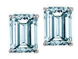 Tommaso Design™ 8x6mm Emerald Cut Genuine Aquamarine Earrings