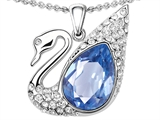 Original Star K Love Swan Pendant With Pear Shape Simulated Aquamarine