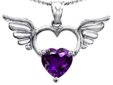 Original Star K Wings Of Love Birthstone Pendant with 8mm Heart Shape Genuine Amethyst