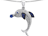 Original Star K Dolphin Pendant With Created Sapphire And Cubic Zirconia