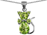 Original Star K™ Cat Pendant With Genuine Peridot style: 308411