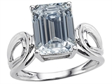 Original Star K Large Emerald Cut 10x8mm Genuine White Topaz Solitaire Ring