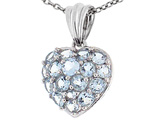 Tommaso Design™ 1inch Puffed Heart with Genuine Aquamarine Pendant