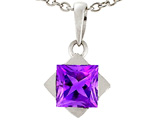 Tommaso Design 6mm Square Genuine Amethyst Pendant