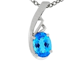 Tommaso Design Oval Genuine Blue Topaz Pendant