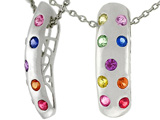 Tommaso Design™ Rainbow Sapphire Pendant with 9 Genuine Multi Color Sapphires