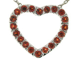 Tommaso Design™ Heart Shape Pendant with Round Genuine Garnet