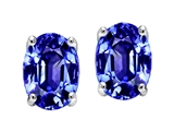 Tommaso Design Simulated Tanzanite Oval 8x6mm Earring Studs