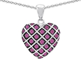 Star K™ Created Pink Sapphire Puffed Heart Pendant Necklace style: 308430