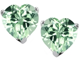 Original Star K™ 7mm Heart Simulated Green Sapphire Earrings Studs style: 308432