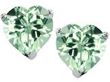 Original Star K™ 7mm Heart Simulated Green Sapphire Earrings Studs style: 308432