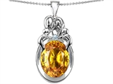 Original Star K™ Loving Mother And Family Pendant With Oval Simulated Citrine style: 308435