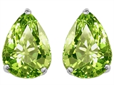 Original Star K Pear Shape 9x7mm Genuine Peridot Earring Studs