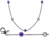 Original Star K 16 Inch Gems By The Yard Necklace With Round Simulated Tanzanite
