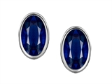 Original Star K™ Oval Genuine Sapphire Bezel Set Small Earring Studs