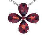 Tommaso Design Pear Shape Genuine Garnet Flower Pendant
