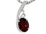 Tommaso Design Oval Genuine Garnet Pendant