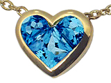 Tommaso Design Invisible Set Genuine Blue Topaz Heart Pendant