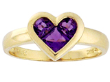 Tommaso Design Genuine Amethyst Invisible Set Heart Ring