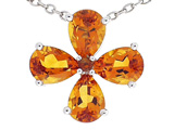 Tommaso Design Pear Shape Genuine Citrine Flower Pendant