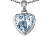 Tommaso Design Heart Shape Genuine Aquamarine Pendant