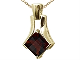 Tommaso Design Square Cut Genuine Garnet Pendant