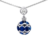Original Star K Round Created Sapphire Ball Pendant