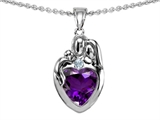 Original Star K™ Loving Mother And Father With Child Family Pendant With Heart Shape 8mm Simulated Amethyst style: 308466