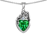 Original Star K™ Loving Mother And Father With Child Family Pendant With Heart Shape 8mm Simulated Emerald style: 308468