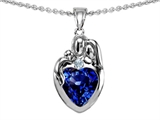Original Star K™ Loving Mother And Father With Child Family Pendant With Heart Shape 8mm Created Sapphire