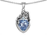 Original Star K™ Loving Mother And Father With Child Family Pendant With Heart Shape 8mm Simulated Aquamarine