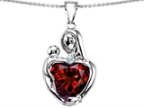 Original Star K™ Large Loving Mother With Child Pendant With 12mm Heart Shape Simulated Garnet