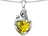 Original Star K™ Large Loving Mother With Child Pendant With 12mm Heart Shape Simulated Yellow Sapphire