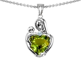 Original Star K™ Loving Mother With Child Hugging Pendant With Heart Shape 8mm Simulated Green Tourmaline style: 308487