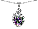 Original Star K™ Loving Mother With Child Hugging Pendant With Heart Shape 8mm Rainbow Mystic Topaz style: 308488