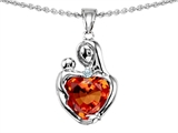 Original Star K Loving Mother With Child Hugging Pendant With Heart Shape 8mm Simulated Orange Mexican Fire Opal