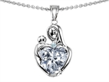 Original Star K™ Loving Mother With Child Hugging Pendant With Heart Shape 8mm Genuien White Topaz