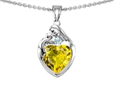 Original Star K™ Loving Mother With Child Family Pendant With 8mm Heart Shape Simulated Yellow Sapphire