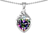 Original Star K™ Loving Mother With Child Family Pendant With 8mm Heart Shape Rainbow Mystic Topaz