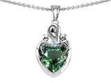 Original Star K™ Loving Mother with Twins Children Pendant With 8mm Heart Simulated Green Tourmaline