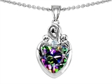 Original Star K™ Loving Mother with Twins Children Pendant With 8mm Heart Rainbow Mystic Topaz style: 308497