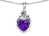 Original Star K™ Loving Mother with Twins Children Pendant With 8mm Heart Simulated Amethyst