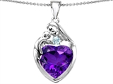 Original Star K™ Large Loving Mother With Child Family Pendant With 12mm Heart Simulated Amethyst