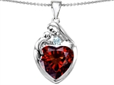 Original Star K™ Large Loving Mother With Child Family Pendant With 12mm Heart Simulated Garnet