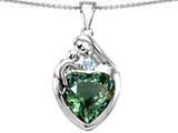 Original Star K™ Large Loving Mother With Child Family Pendant With 12mm Heart Simulated Green Tourmaline