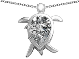 Star K™ Large Mother and Baby Lucky Turtle family Pendant Necklace with 12x8mm Pear Shape Genuine White Topaz style: 308511
