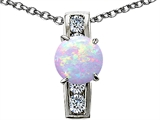 Original Star K™ 7mm Round Created Opal Pendant style: 308530