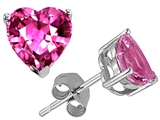 Original Star K 7mm Heart Shape Simulated Pink Tourmaline Earring Studs