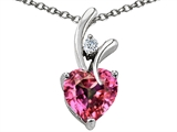 Original Star K™ Heart Shape 8mm Simulated Pink Tourmaline Pendant style: 308540